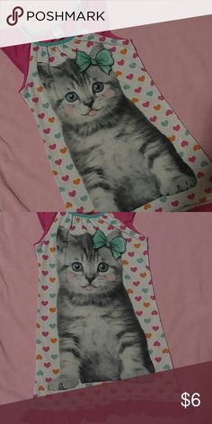 Kitty Nightgown Cute kitty on a background of hearts in magenta, orange and turquoise. Glitter sleeves and size L 10/12 In gently used condition. Pajamas Nightgowns