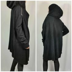 ITEM DETAILS:  *************************************************************************  Black Asymmetric Hooded Cardigan with zipper and long