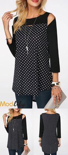 Polka Dot Print Cold Shoulder Blouse  2e3f7a155592