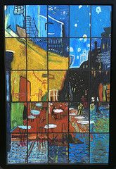 """2nd Grade - reproduction of Van Gogh's """"Cafe Terrace at Night"""""""