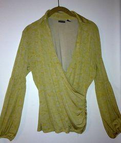 Ladies L Gold/White Floral Pattern Long Sleeve V-Neck Dress Blouse #NewportNews #Blouse #Career $5.99 @Ebay