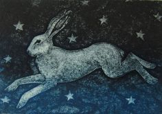 'Frisky Legs II' by Hester Cox (collagraph), from the artist's series inspired by Seamus Heaney's version of 'The Names of the Hare'. Jack Rabbit, Rabbit Art, Hare Pictures, Hare Illustration, Collagraph, Bunny Art, Beautiful Creatures, Printmaking, Folk Art