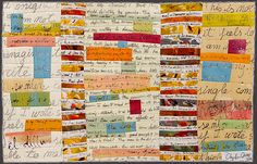 Angela Moll. From her Secret Diary series. Fabric and text: always an amazing combination.