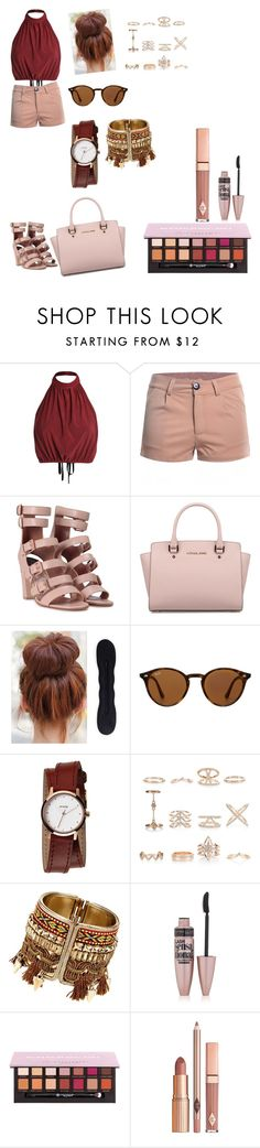 """Sun Kiss"" by alexandra-ac ❤ liked on Polyvore featuring Laurence Dacade, Michael Kors, Ray-Ban, Nixon, New Look, Maybelline, Anastasia Beverly Hills, Dolce Vita, red and sun"