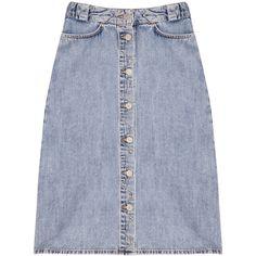 MiH Jeans Melbourne denim skirt ($44) ❤ liked on Polyvore featuring skirts, bottoms, denim, denim skirts, light denim, blue denim skirt, chevron striped skirt, knee high skirts and blue knee length skirt