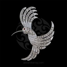 Luke Stockley Silver & Marcasite Hummingbird Brooch | Alexandra May Jewellery