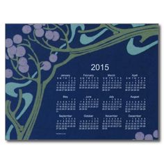 2015 Mini Calendar by Janz Art Nouveau Postcard