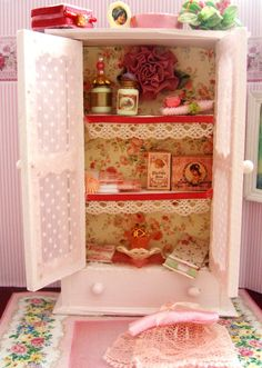 Miniature peachy pink lined bedroom hutch and by clarabellasminis, $48.00