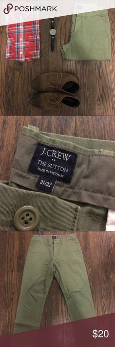 Men's J. Crew Sutton Chino Men's J. Crew Sutton Chino in amazing condition! A nice versatile olive green color-perfect for any occasion! Barely worn. Size: Men's 31x32. (100% Cotton). J. Crew Pants Chinos & Khakis