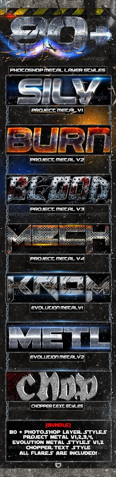 [Bundle] Project Metal - Photoshop Text Styles Game Concept, Text Style, Text Effects, Photoshop Photography, Photoshop Actions, Logos, Logo Design, Projects, Ps