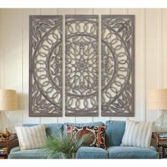 Litton Lane Scrolled 48 in. Wood and Mirrored Wall Panel 23705 - The Home Depot Wood Wall Decor, Wooden Wall Art, Wooden Walls, Mirror Panel Wall, Lattice Wall, Wall Panel Design, Decorative Wall Panels, Fabric Wall Art, Living Room Art