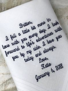 Handkerchief for Groom from his Bride on There Wedding Day -Embroidered Wedding Handkerchief -Wedding gift Mother Of Bride Gifts, Wedding Gifts For Bride, Father Of The Bride, Gifts For Father, Wedding Ideas, Wedding Stuff, Wedding Themes, Wedding Planning, Red Wedding