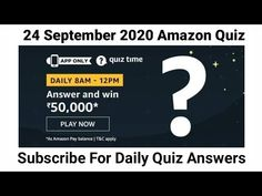 Amazon Daily Quiz Answers | 24 September 2020 amazon Quiz Answers | Win ₹5000 Amazon Pay Balance - YouTube