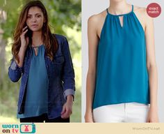 Elena's teal keyhole tank top on The Vampire Diaries. Outfit Details: http://wornontv.net/38989/ #TheVampireDiaries