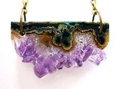Amethyst Crystal Quartz Asymmetrical Bar Slice Druzy Necklace