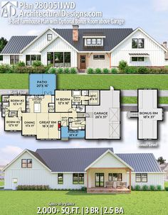 Plan Farmhouse Plan with Optional Bonus Room above Garage Architectural Designs Home Plan gives you 3 bedrooms, baths and sq. Ready when you are! Where do YOU want to build? New House Plans, House Floor Plans, Farmhouse Plans, Country Farmhouse, Farmhouse Bedrooms, Room Above Garage, Murphy Bed Plans, The Ranch, My Dream Home