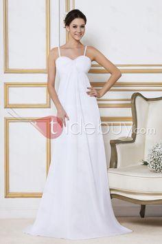 安いウェディングドレス エンパイアライン スパゲッティストラッププビーチスイープ