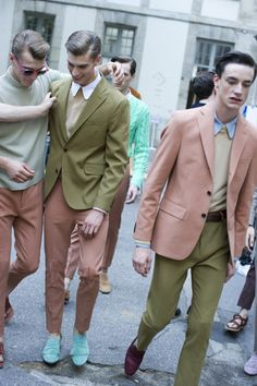 pink suits, menswear. street style. inspiration. cool outfit. ootd. menswear style.