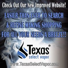 Check Out Our New Improved Website! Faster & w/ New Refining Capabilities Making Shopping a Breeze!! #OnlineSales #ecigs #eLiquid #USAeLiquid #ecigarette #TxSelect #NicTrace #InnerChaser #Vaping #VapeLife #VapeStyle #VapeMail #GetYours