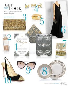 Make a sophisticated statement in black and gold – and don't forget the pearls.