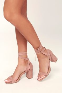 d9e499b36 Airis Mauve Suede Lace-Up Heels Rose Gold High Heels, Lace High Heels,