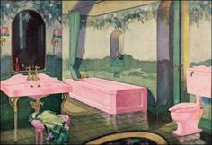 Art Deco original bathroom in vivid colour scheme