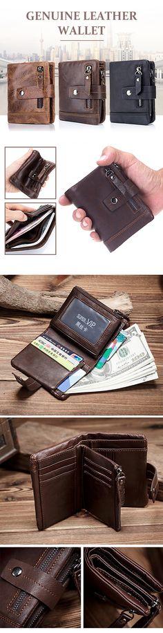 US$19.9(48%OFF)BULLCAPTAIN 13 Card Slots Wallet Genuine Leather Card Holder Vintage Coin Bag For Men