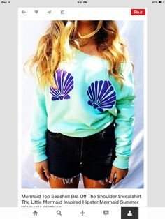 A hipster style and teen stle little mermaid shirt shells and a green color on it