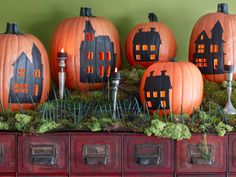 Pumpkins provide the backdrop for a quaint village scene. Get the templates and tutorial. Diy Pumpkin, Pumpkin House, Pumpkin Ideas, Pumpkin Carving, Carving Pumpkins, Pumpkin Designs, Pumpkin Painting, Monster Party, Halloween Crafts