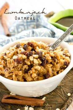 Lumberjack Oatmeal >> by Tastes of Lizzy T's. Thick, hearty, cooked rolled oats, raisins and nuts fill this lightly sweetened lumberjack oatmeal. This hot cereal is true comfort food, warming you up on cold winter mornings. #MyOatsCreation #spon