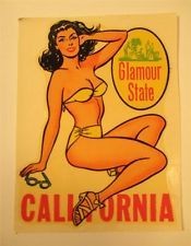 Vintage PINUP GIRLIE Souvenir Travel Car Decal CALIFORNIA Hot Rod Rockabilly