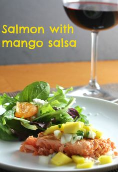 Salmon with Mango Salsa. A healthy #SundaySupper recipe from Cooking Chat.