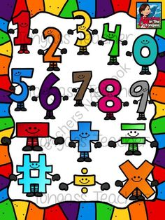 Smiley Numbers and Math Symbols Clipart Bundle from tongassteacher on TeachersNotebook.com -  (32 pages)  - This 32 piece math bundle features numbers (0-9) and math symbols (addition, subtraction, multiplication, division, number, equal) in a variety of rainbow colors!