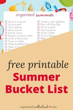 Download this free printable summer bucket list to keep your children busy during spring break, summer vacation, and school holidays. It's a fun, creative list of things for kids to do (with inspiration to get them outside)!