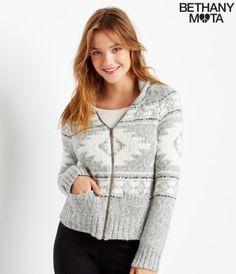 Fair Isle Shawl Neck Full-Zip Sweater - Aéropostale®