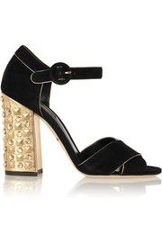 Dolce & GabbanaBianca embellished suede and metallic leather sandals
