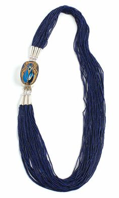 Multi-Strand Necklace with Lapis Lazuli Gemstone Beads, Sterling Silver Clasp with Glass Inlay and Sterling Silver Cones - Fire Mountain Gems and Beads