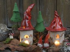 """Wind lights - Wind light """"Wichtel-Villa"""" - a designer piece by loewenbine be . Ceramics Projects, Polymer Clay Projects, Decor Crafts, Diy And Crafts, Pottery Houses, Relaxing Art, Christmas Crafts, Christmas Ornaments, Ceramic Birds"""