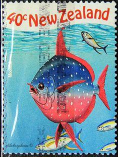 New Zealand.  MARINE LIFE.  MOONFISH.  Scott  1539 A441, Issued 1999  7, Lith.., Perf. 14, 40c. /ldb.