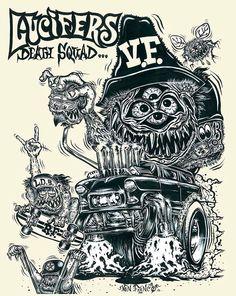 Lucifers Death Squad Ed Roth Art, Lowrider Art, Rat Fink, Garage Art, Lowbrow Art, Ad Art, Arts Ed, Old Cartoons, Posters