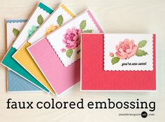 Hi there! Today I share a faux colored embossing technique... along with tips for layering stamps and getting the most out of background dies.