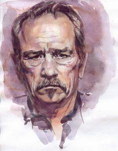 Clases de pintura en Las Palmas. Academia Salazar. Retratos al óleo.: Tommy Lee Jones. Watercolor. Encargos de retratos en Las Palmas: http://salazar-art.weebly.com/retratos-por-encargo.html