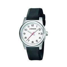 1e9ec5a491e Wenger Field Men s Swiss Army Watch (Black Silicone Strap White Dial SS  Case) - EOL