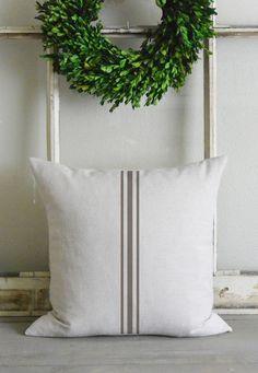 Grain Stripe 20 x 20 Pillow Cover_fall, autumn, french grain sack, home decor, cushion, throw pillow, gift, present_