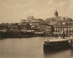 """View of Galata and the Ottoman Bank, Abdullah Frères c. 1880-1893 (Library of Congress). This is a view of the Galata section of Istanbul seen from the Golden Horn (Haliç)."""