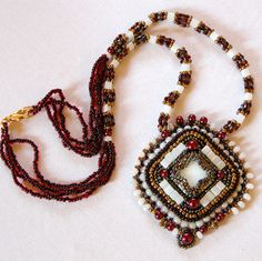 medieval bead embroidery necklace