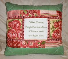 Sister Gift Quilted Pillow Rose Floral Hand by AWordFitlySpoken, $28.50