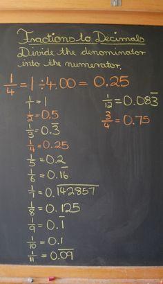 Waldorf ~ 5th grade ~ Math ~ Decimals ~ chalkboard drawing