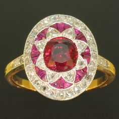 Belle Epoque diamond ruby antique engagement ring