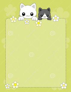 Dreamstime.com #cats #frame #border Borders And Frames, Borders For Paper, Teacher Wallpaper, Disney Frames, Sticker Chart, Paper Owls, Cute Stationary, Framed Wallpaper, Envelopes